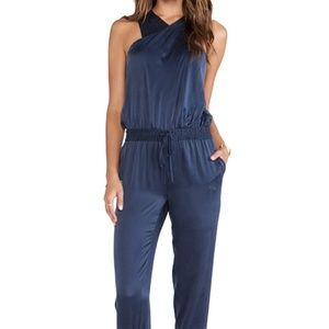 PAIGE Garland Dark Ink Blue 100% Silk Jumpsuit Med